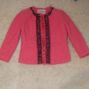 Boston Proper Embellished Coral Blazer Jacket 6